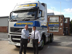 John Crossland from Volvo handing the vehicle over to Ian Davis